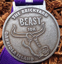 Finish medal for the Brickyard Beast Road Race